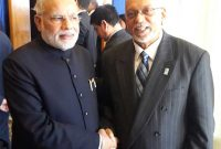 The Prime Minister, Narendra Modi meeting the President of Co-operative Republic of Guyana, Donald Ramotar,