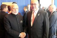 The Prime Minister, Narendra Modi meeting the President of the Republic of Suriname, Desi Bouterse,
