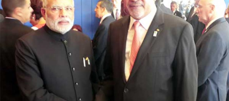 The Prime Minister, Narendra Modi meeting the President of the Republic of Suriname, Desi Bouterse,