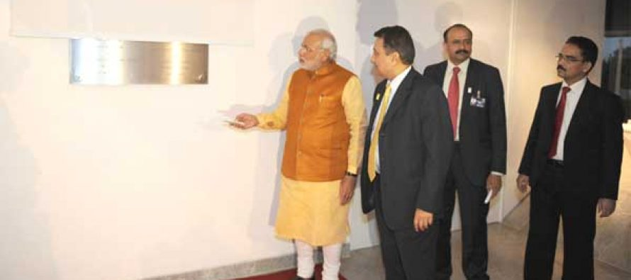 The Prime Minister, Narendra Modi inaugurating the New Chancery Building of the Indian Embassy, at Brasilia, in Brazil.