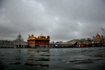 A view of the Golden Temple during rains in Amritsar on July 17, 2014.