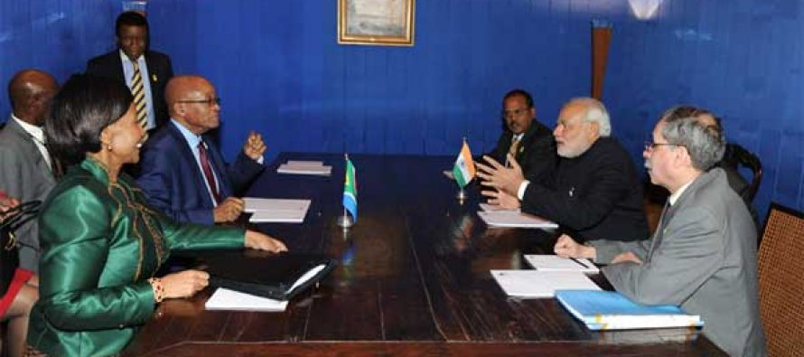 The Prime Minister, Narendra Modi meeting with the President of the Republic of South Africa, Jacob Zuma