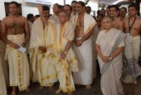 The President of India, Pranab Mukherjee, visiting Padmanabha Swami Temple at Trivandrum