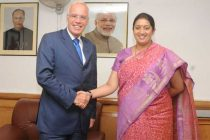 The Ambassador of Norway to India, Eivind S. Homme calling on the Minister for Human Resource Development, Smriti Irani