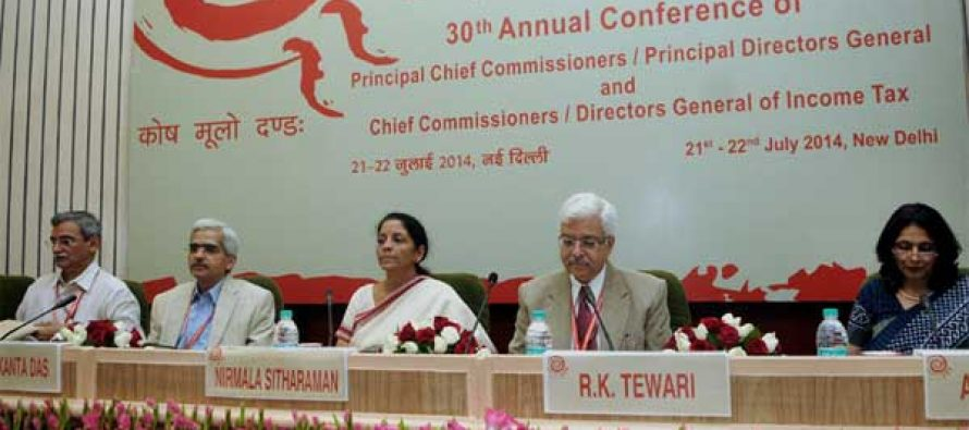 The MoS for Commerce & Industry (IC), Finance and Corporate Affairs, Nirmala Sitharaman at the valedictory session of the 30th Annual Conference of Principal Chief Commissioners, Principal Director Generals, Chief Commissioners and Director Generals of Income Tax,
