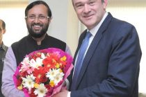 The Secretary of State, U.K., Edward Jonathaon Davey calling on the Minister of State for Information and Broadcasting (Independent Charge), Environment, Forest and Climate Change (IC) and Parliamentary Affairs, Prakash Javadekar