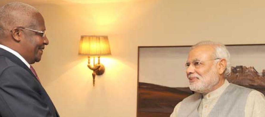 The Foreign Minister of Uganda, Dr. Sam Kutesa calling on the Prime Minister, Narendra Modi, in New Delhi.
