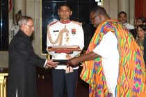 Samuel Panyin Yalley, High Commissioner-designate of Ghana presenting his credentials to the President of India, Pranab Mukherjee