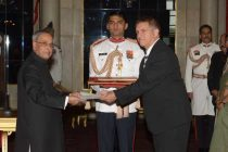Daniel Carmon, Ambassador-designate of Israel presenting his credentials to the President of India, Pranab Mukherjee