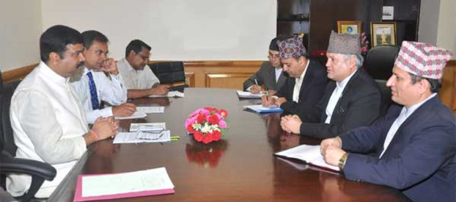The Minister of Commerce and Supplies, Nepal, Sunil Bahadur Thapa meeting the MoS (IC) for Petroleum and Natural Gas, Dharmendra Pradhan