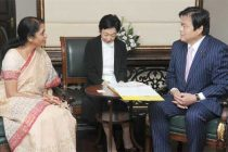 The State Minister of Economy, Trade and Industry, Japan, Kazuyoshi Akaba meeting the MoS for Commerce & Industry (IC), Finance and Corporate Affairs, Nirmala Sitharaman