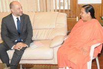 The Ambassador of France to India, Francois Richier calls on the Minister for Water Resources, River Development and Ganga Rejuvenation, Sushri Uma Bharati