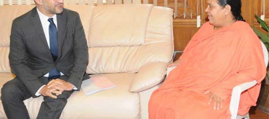 The Ambassador of France to India, Francois Richier calls on the Minister for Water Resources, River Development and Ganga Rejuvenation, Sushri Uma Bharati
