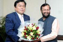 The State Minister of Economy, Trade and Industry of Japan, Kazuyoshi Akaba meting the MoS for Information and Broadcasting (IC), Environment, Forest and Climate Change (IC) and Parliamentary Affairs, Prakash Javadekar,