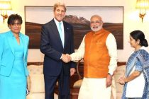 The US Secretary of State, John Kerry and the US Secretary of Commerce, Penny Pritzker calling on the PM, Narendra Modi