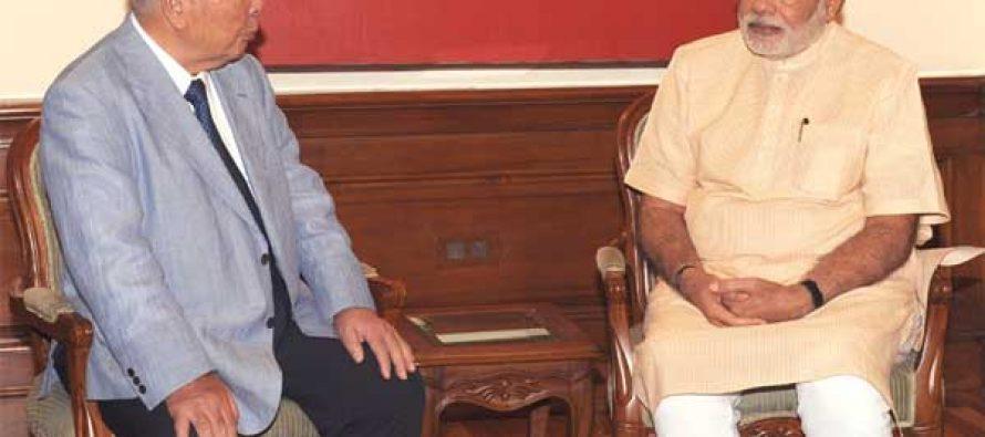 The Chairman and CEO, Suzuki Motor Corporation, Osamu Suzuki calling on the Prime Minister, Narendra Modi