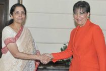 The US Secretary of Commerce, Penny Pritzker meeting the MoS for Commerce & Industry (IC), Finance and Corporate Affairs, Nirmala Sitharaman