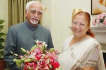 The new Lok Sabha Speaker, Sumitra Mahajan meeting the Vice President, Mohd. Hamid Ansari, in New Delhi on June 07, 2014.