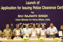 The Home Minister, Rajnath Singh launching the Web application of Delhi Police for issuing Police Clearance Certificate