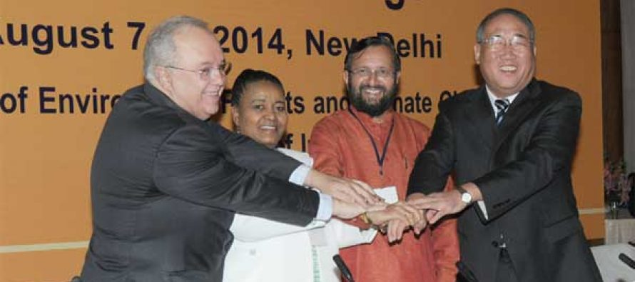 The MoS for Information and Broadcasting (IC), Environment, Forest and Climate Change (IC) and Parliamentary Affairs, Prakash Javadekar at the XVIII BASIC Ministerial Meeting on Climate Change