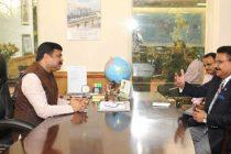 The Indian Ambassador to Jordan, Anil Trigunayat calling on the MoS (IC) for Petroleum and Natural Gas, Dharmendra Pradhan