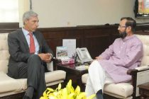 The Ambassador of the European Union in India, Joao Cravinho calling on the MoS for Information and Broadcasting (IC), Environment, Forest and Climate Change (IC) and Parliamentary Affairs, Prakash Javadekar, in New Delhi on August 22, 2014.
