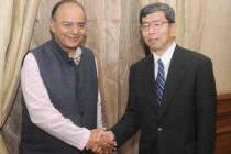 The President, Asian Development Bank, Takehiko Nakao calling on the Minister for Finance, Corporate Affairs and Defence, Arun Jaitley