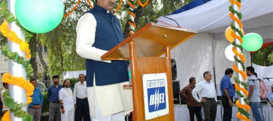 R. Krishnan, Director (HR), BHEL addressing BHEL employees on the occasion of India's 68th Independence Day.