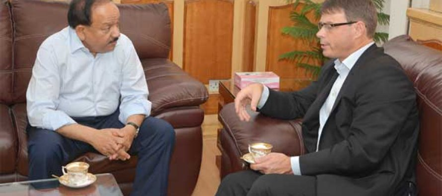 The High Commissioner of Australia to India, Patrick Suckling calling on the Union Minister for Health and Family Welfare, Dr. Harsh Vardhan