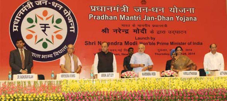 The Prime Minister, Narendra Modi launching the 'Pradhan Mantri Jan Dhan Yojana (PMJDY)', in New Delhi on August 28, 2014.