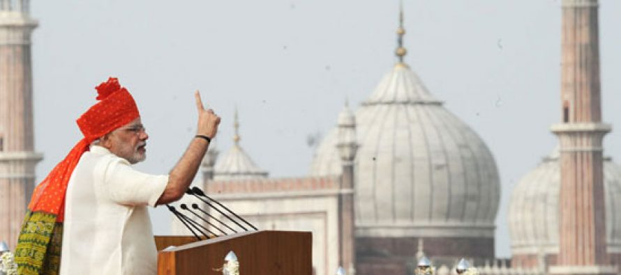 The Prime Minister, Shri Narendra Modi addressing the Nation on the occasion of 68th Independence Day from the ramparts of Red Fort,