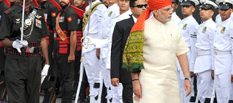 Prime Minister, Shri Narendra Modi inspecting the Guard of Honour at Red Fort, on the occasion of 68th Independence Day
