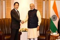 The Minister of Foreign Affairs of Japan, Fumio Kishida calling on the Prime Minister, Narendra Modi, in Tokyo, Japan