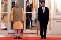 The Prime Minister, Narendra Modi and the Prime Minister of Japan, Shinzo Abe at the Official Welcome Ceremony,