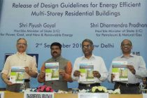 The MoS (IC) for Petroleum and Natural Gas, Dharmendra Pradhan releasing the Design Guidelines