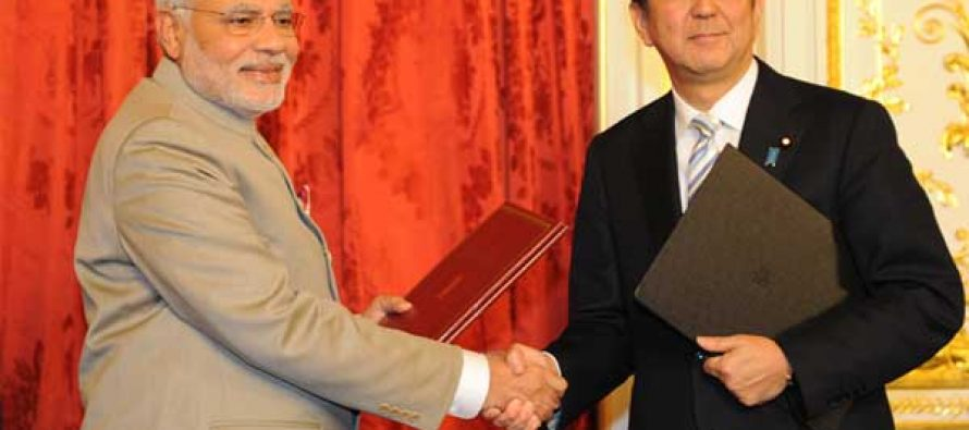 The Prime Minister, Narendra Modi and the Prime Minister of Japan, Shinzo Abe after signing the agreements,