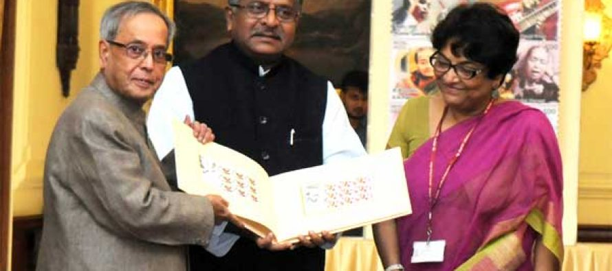 "The President, Pranab Mukherjee releasing a ""Set of Eight Commemorative Postage Stamps of Indian Musicians"" at Rashtrapati Bhawan"