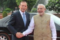 The Prime Minister, Narendra Modi with the Prime Minister of Australia, Tony Abbott, at the Ceremonial Reception