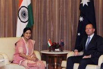 The Minister for External Affairs and Overseas Indian Affairs, Sushma Swaraj meeting the Prime Minister of Australia, Tony Abbott