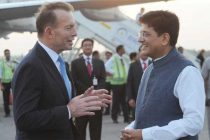 The PM of Australia, Tony Abbott being received by the MoS (IC) for Power, Coal and New and Renewable Energy, Piyush Goyal