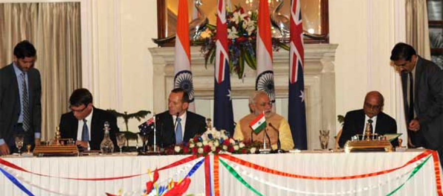 The Secretary, Department of Atomic Energy, Dr. R.K. Sinha and the High Commissioner of Australia to India, Patrick Suckling signing an agreement on cooperation in the Peaceful Uses of Nuclear Energy