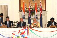 The Additional Secretary, Ministry of Water Resources Dr. Amarjit Singh and the High Commissioner of Australia to India, Patrick Suckling signing the renewal of MoU on cooperation in the field of Water Resources Management