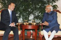 The Prime Minister of Australia, Tony Abbott meeting the Vice President, Mohd. Hamid Ansari, in New Delhi