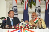 The Prime Minister, Narendra Modi and the Prime Minister of Australia, Tony Abbott, at the Joint Press Statements