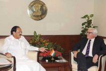 The German Foreign Minister, Frank-Walter Steinmeier meeting the Minister for Urban Development, Housing and Urban Poverty Alleviation and Parliamentary Affairs, M. Venkaiah Naidu,