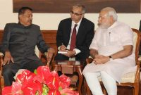 The Minister of Natural Resources, Malaysia, Datuk Seri G. Palanivel calls on the Prime Minister, Narendra Modi