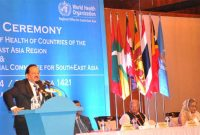 The Minister for Health and Family Welfare, Dr. Harsh Vardhan addressing at the 32nd meeting of the Ministers of Health of WHO