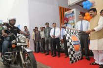 The MoS (IC) for Petroleum and Natural Gas, Dharmendra Pradhan flagging off a motorcycle expedition
