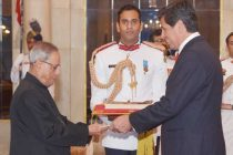 Andres Barbe Gonzalez, Ambassador designate of Chile presenting his credentials to the President of India, Pranab Mukherjee