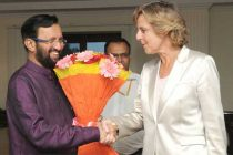 The European Commissioner on Climate Change, Connie Hedegaard meeting the MoS for Information and Broadcasting (I/C), Environment, Forest and Climate Change (I/C) and Parliamentary Affairs, Prakash Javadekar